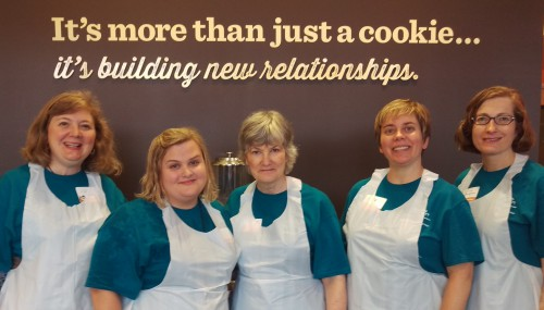 The Career Services Team volunteered for Global Day of Service 2014 at a local nonprofit bakery, the Cookie Cart, which hires and trains urban youth. Left to right are: Lisa Cook, Dina Bergren, Denise Pranke, Nicolle Skalski, and Andrea Obrycki.