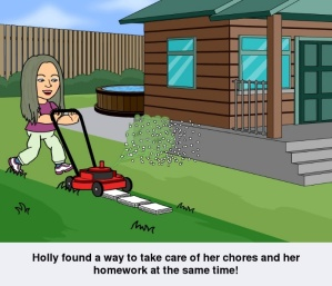 cartoon of woman cutting grass