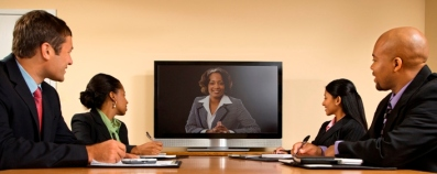 Woman interviewing on screen